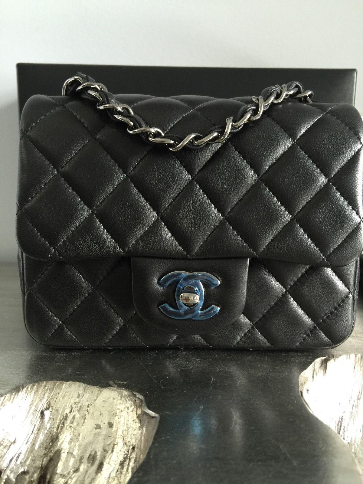 adff4f6a647a Chanel 13B Square Mini Black Lamb Lambskin Classic Flap Silver Ruth Caviar  | eBay
