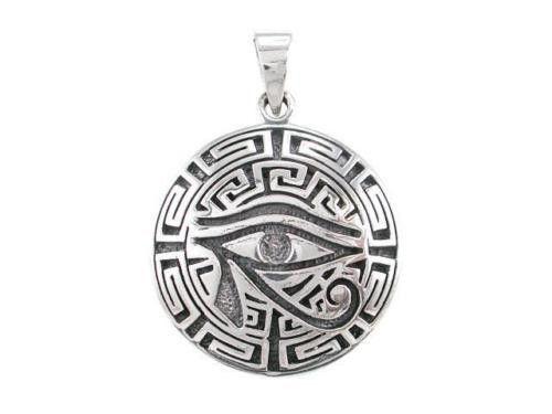 Sterling Silver Egyptian Eye Horus Wedjat Udjat Greek Key Meander Charm Pendant