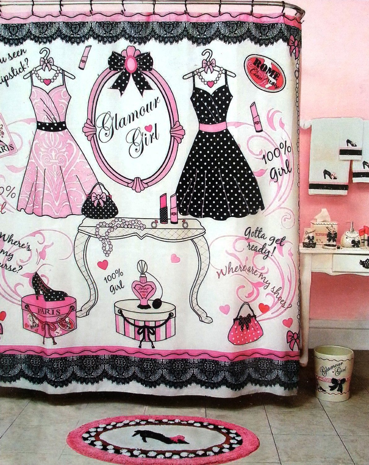 Glamour Girl Pink Black White Shower Curtain 70 X 72 Black Shower Curtains Girls Shower Curtain Fabric Shower Curtains