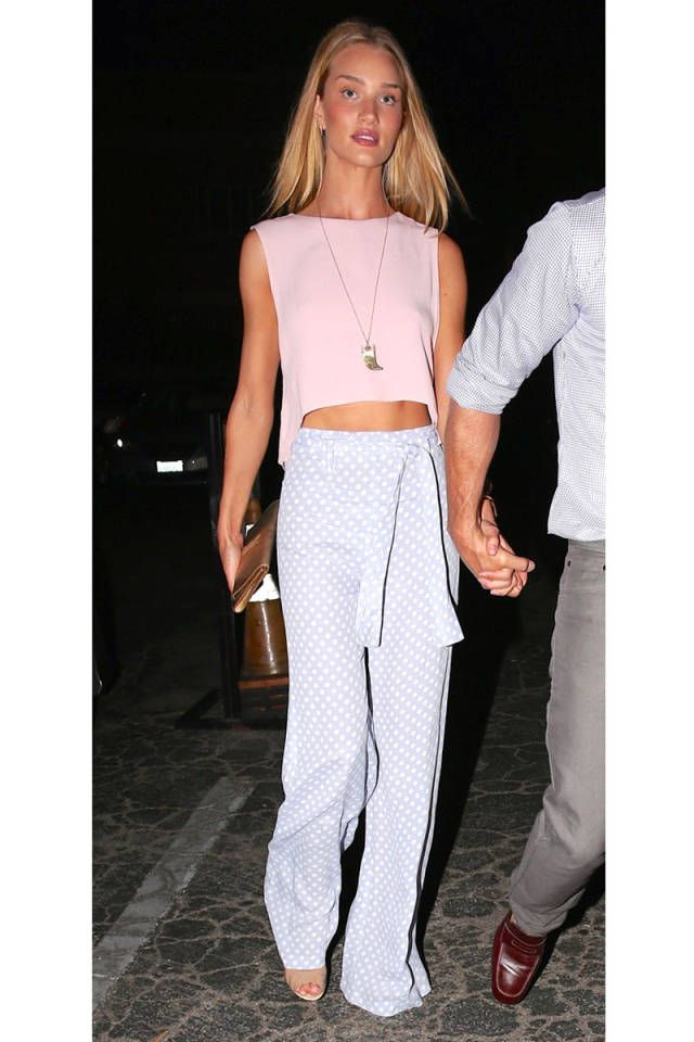 Rosie Huntington-Whiteley sports a pair of comfy high waisted trousers.  See how to get the look here.