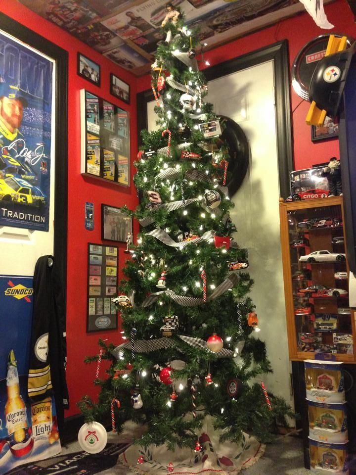 NASCAR Themed Christmas Tree. Black and White check ribbon for garland.  Nascar and racing ornaments and of course, Dale Earnhardt as the Angel. - NASCAR Themed Christmas Tree. Black And White Check Ribbon For