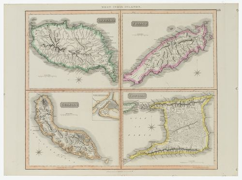 John Thomson West Indian Islands Map Showing Four Caribbean - Map of grenada caribbean islands