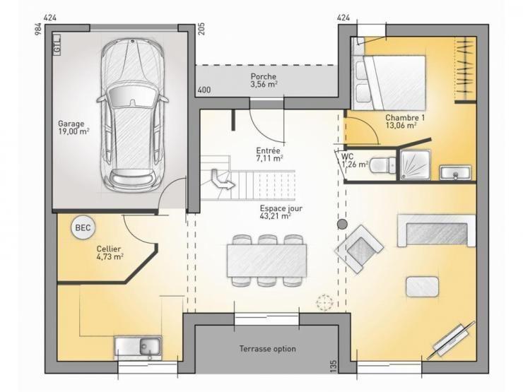 Plans de maison  RDC du modèle Concept Maison moderne à étage de - Plan De Maison Moderne