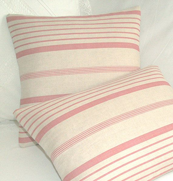 Striped Linen Throw Pillow : Kate Forman Ticking Stripe Linen Cushion / Lumbar Throw Pillow Cover - UK Designer Linen - Pink ...