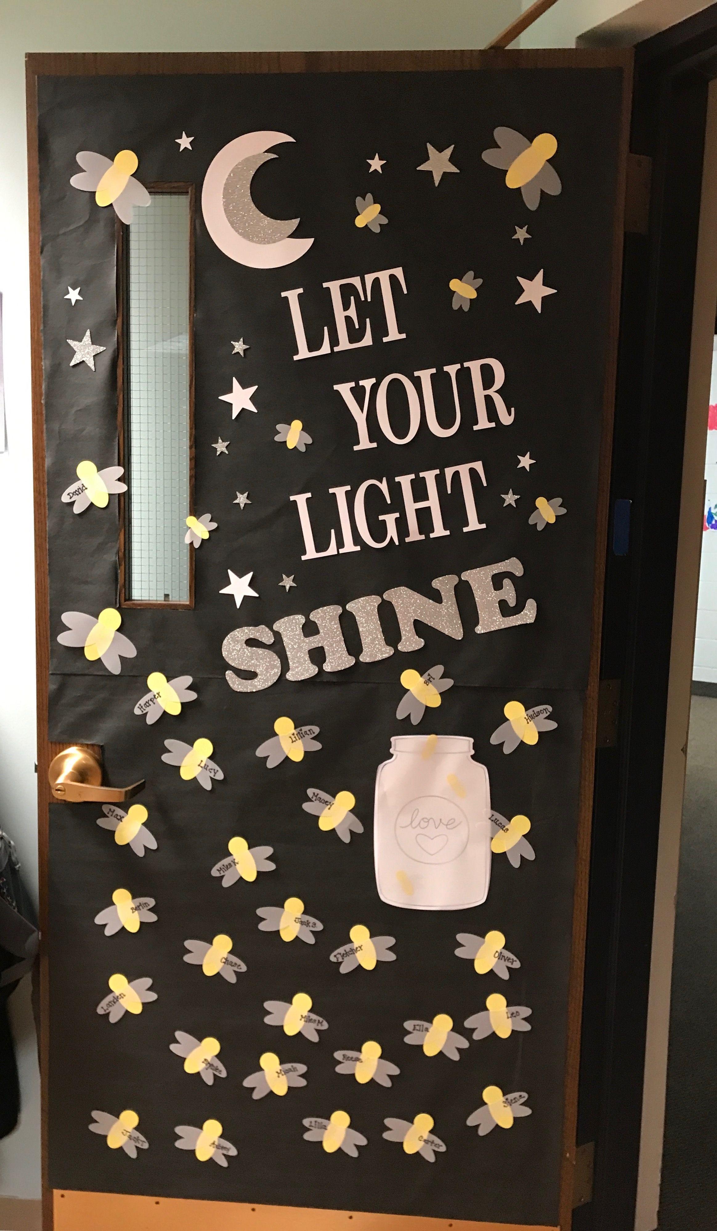 Firefly Let Your Light Shine School Door Decorations Sunday School Classroom Camping Theme Classroom