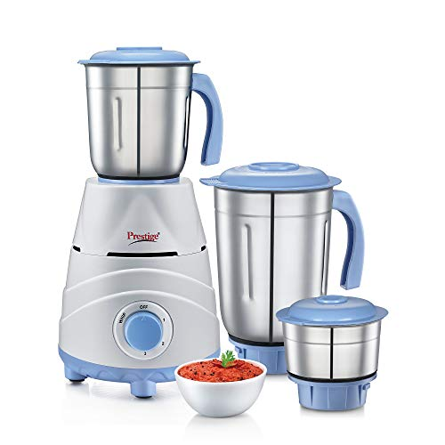 Prestige Tez 550 Watt Mixer Grinder With 3 Stainless Steel Jars White And Blue Kitchen Appliances Smart Glass Heating Issues
