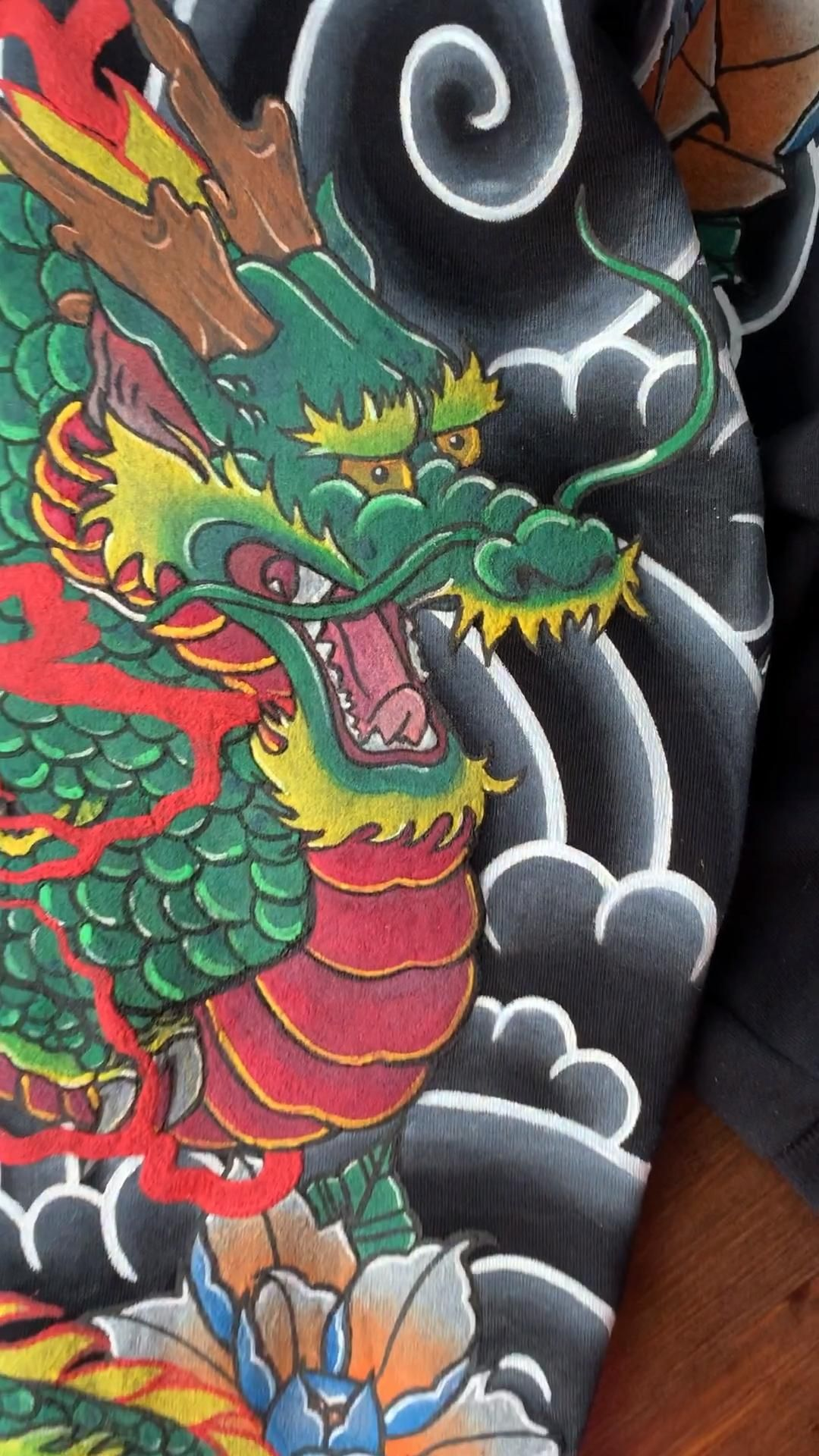 Photo of Sweatshirt japanese tattoo Dragon handmade women clothes