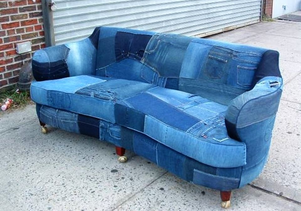 Upcycled Denim Sofa Creates Buzz On Craigslist Sectional Sofa Slipcovers White Couch Cover Couch