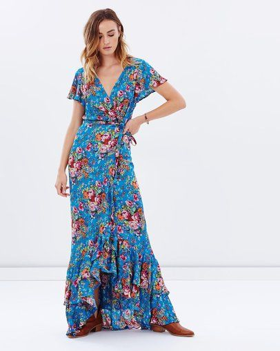c7488b43e7 Beach House Frill Wrap Maxi Dress by Auguste Online | THE ICONIC | Australia