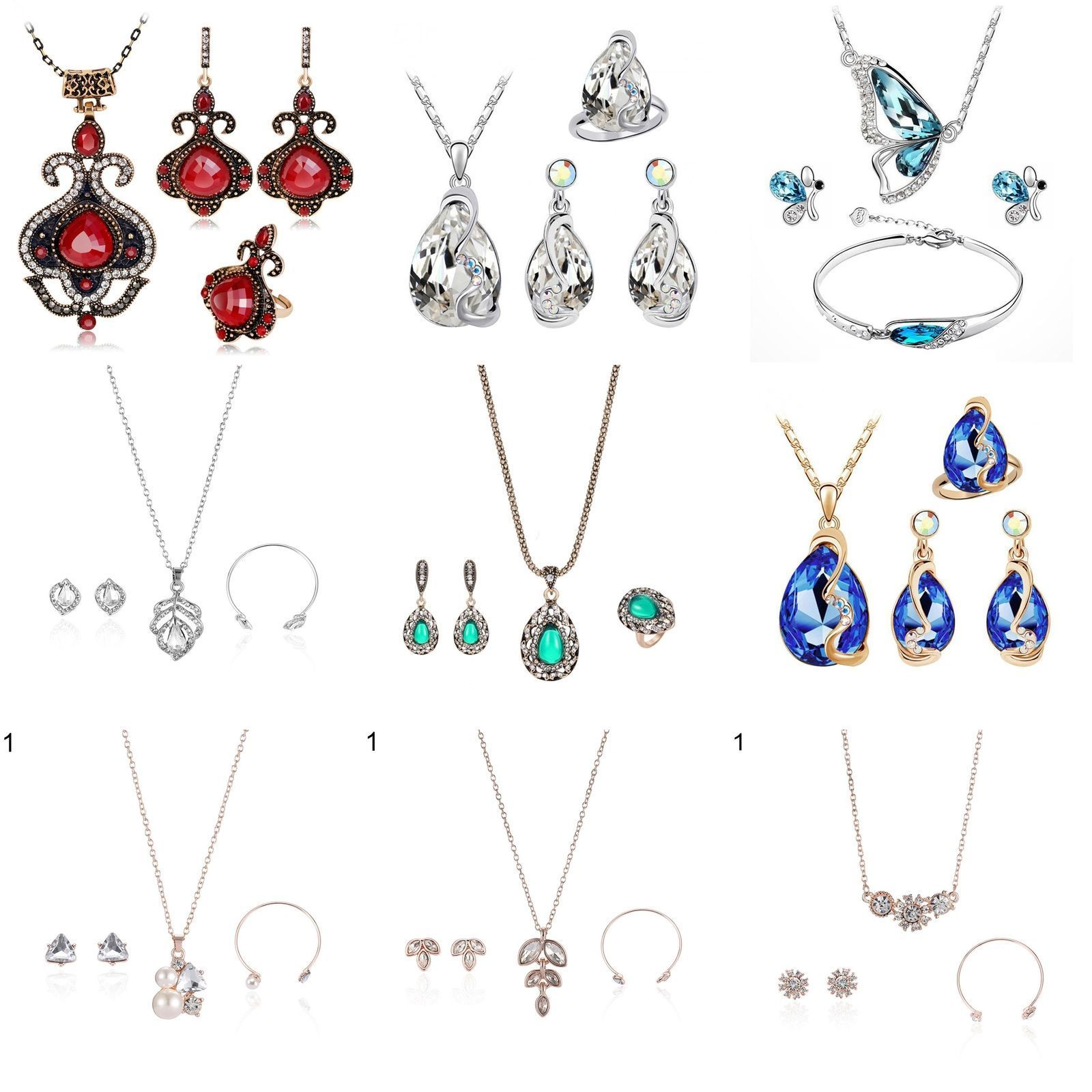 rhinestone pearl necklace earrings ring womens wedding