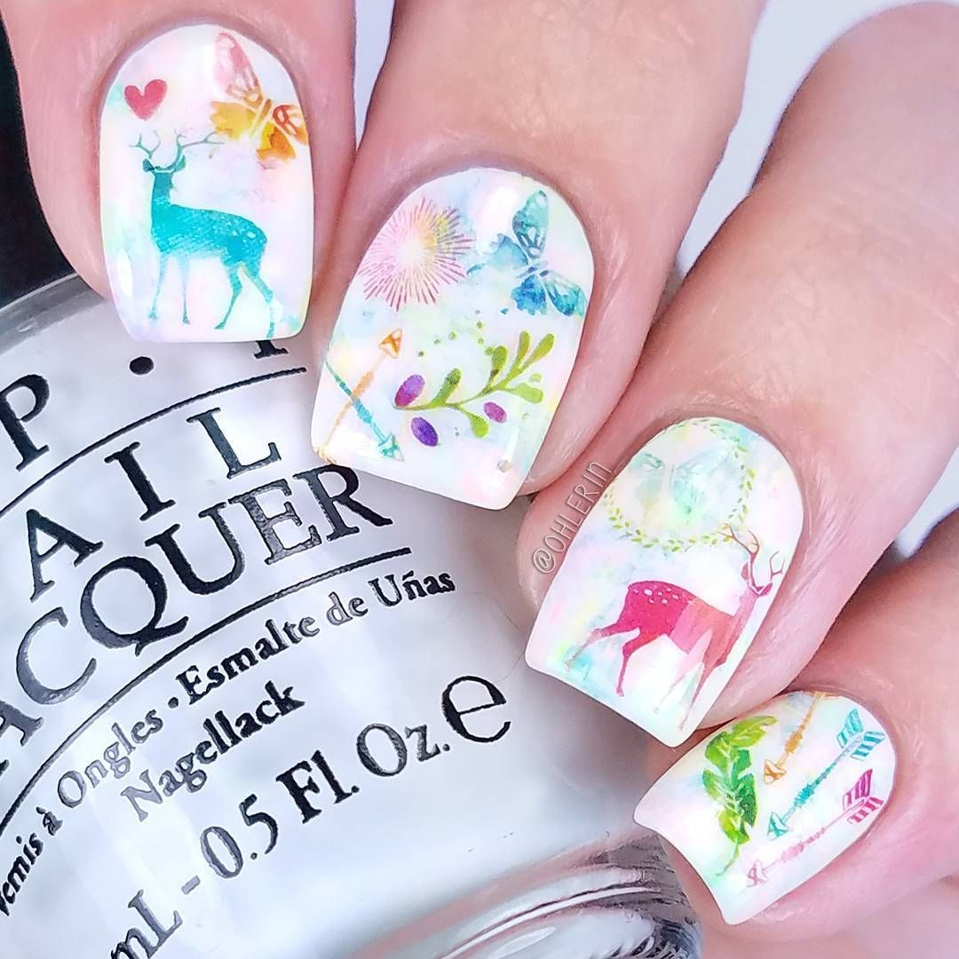 Deer nail art | Nail Art by Ohlerin | Pinterest | Deer nails and ...