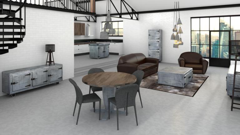 Ilot central de cuisine - Zinc Lofts - table salle a manger loft