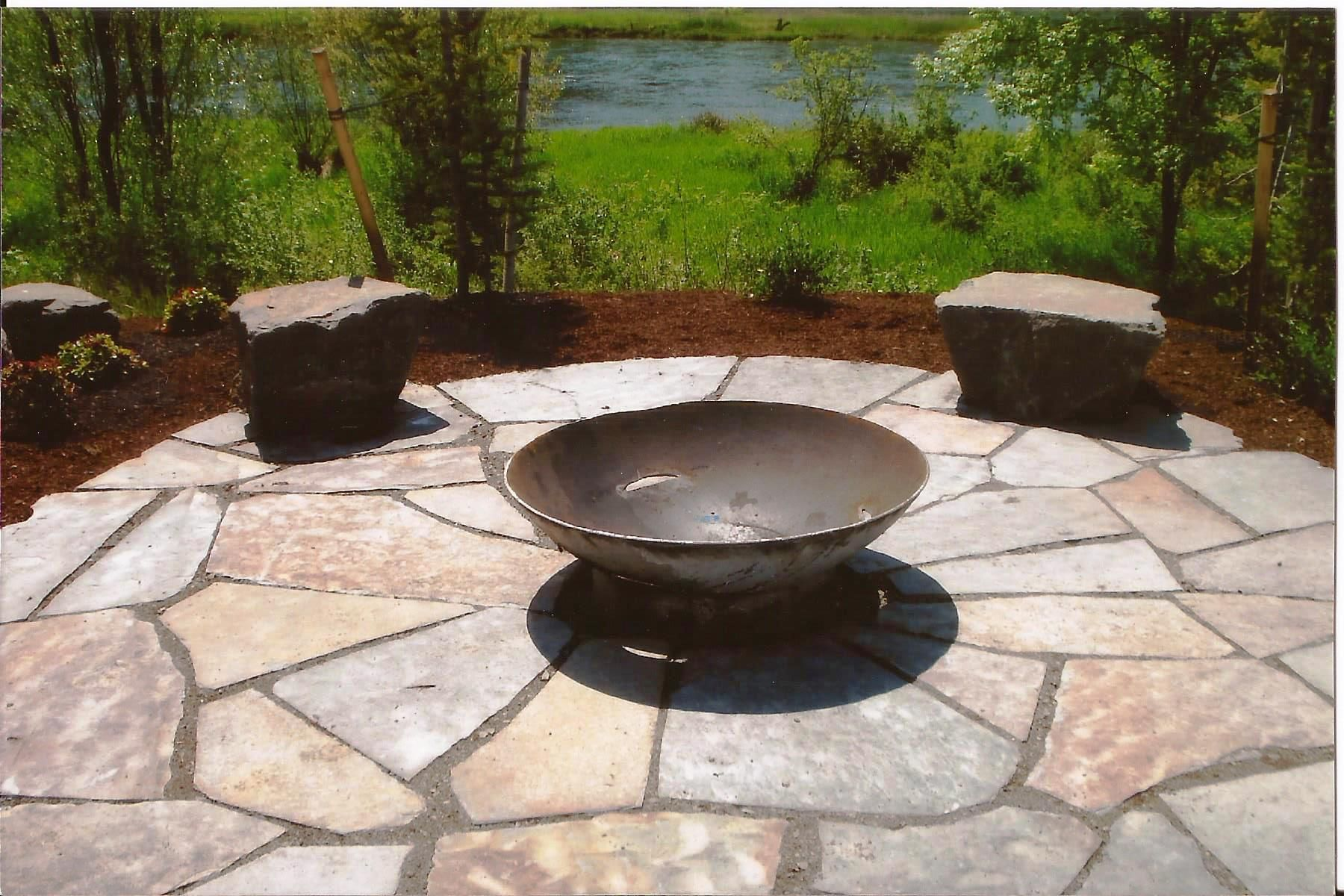 garden inspiration interesting large bowl fire pit and seating on slice stone backyard pavers as small patio decor in green back garden landscaping with - Patio Design Ideas With Fire Pits