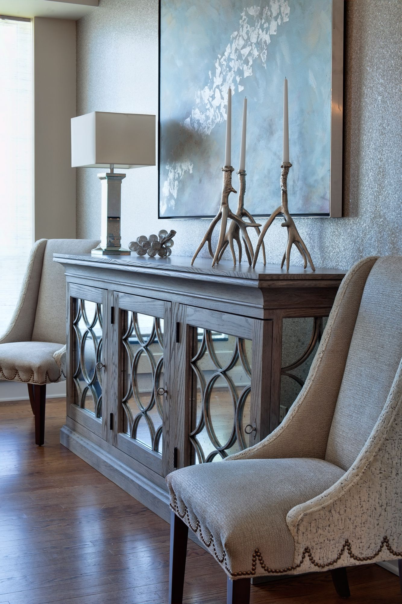 Beautiful Reclaimed Wood And Mirror Paneled Buffet Cabinet Abstract Art Polished Nickel Table Lamp Manzanita Candle Holders