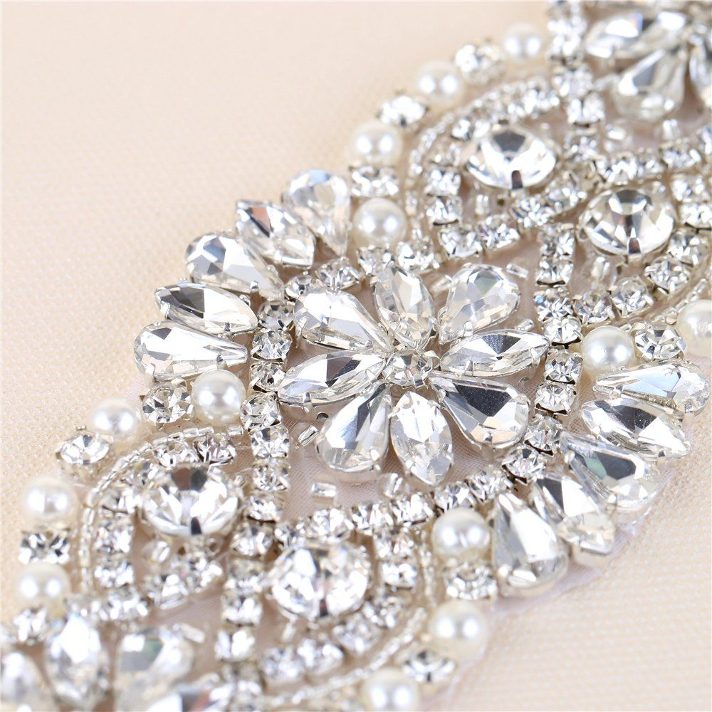 Bridal wedding dress sash belt applique with crystals