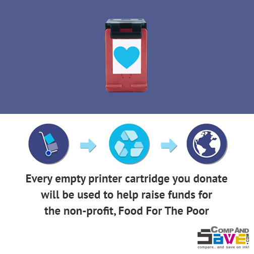 Did you know, hunger is the world's #1 health risk? Help CompAndSave.com support Food For the Poor by mailing us your empty printer cartridges!
