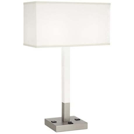 oda white usb port table lamp with power outlets lamps. Black Bedroom Furniture Sets. Home Design Ideas