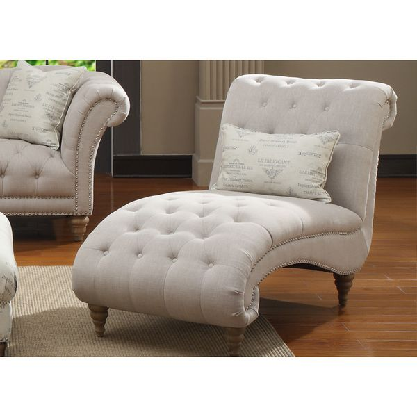 Hutton Off-White Linen-Look Button Tufted Chaise  sc 1 st  Pinterest : white tufted chaise - Sectionals, Sofas & Couches