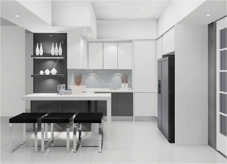 cucine-moderne-ad-angolo-mobili-bianchi-neri | Architettura ...
