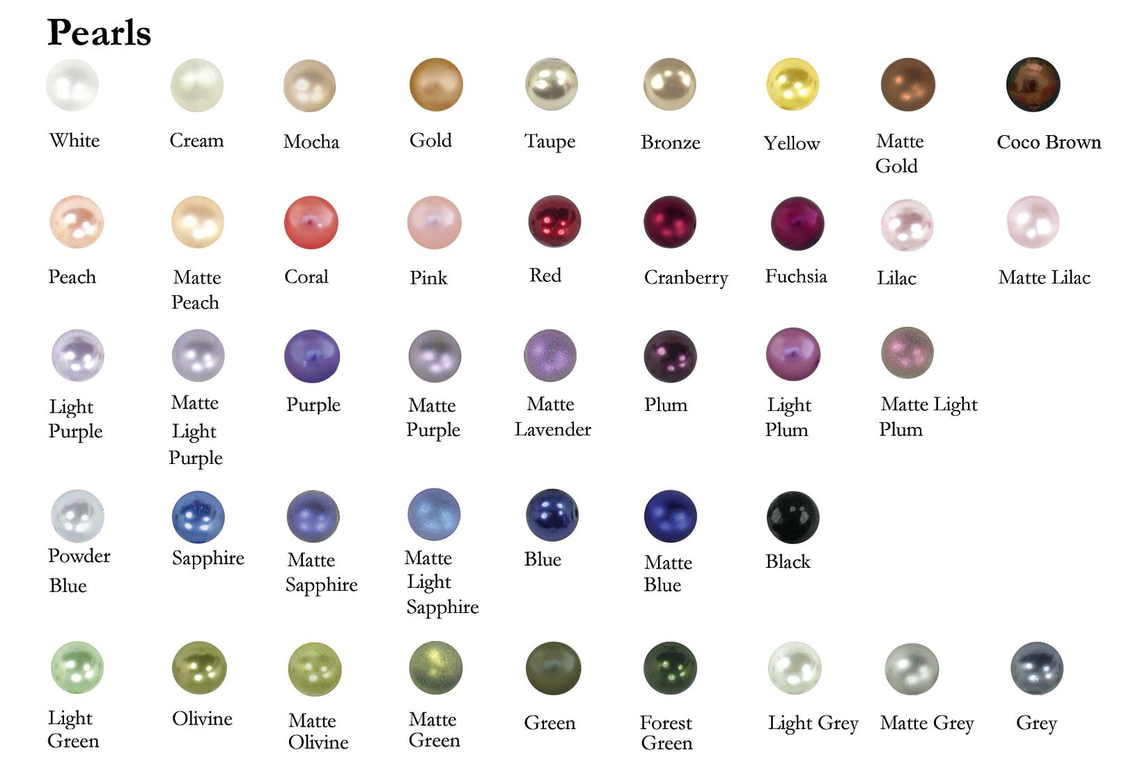 Image From Http Www 2 Be Unique Com Images Charts Pearl Color Chart Full Jpg Pearl Color Pearl Steven Pearls