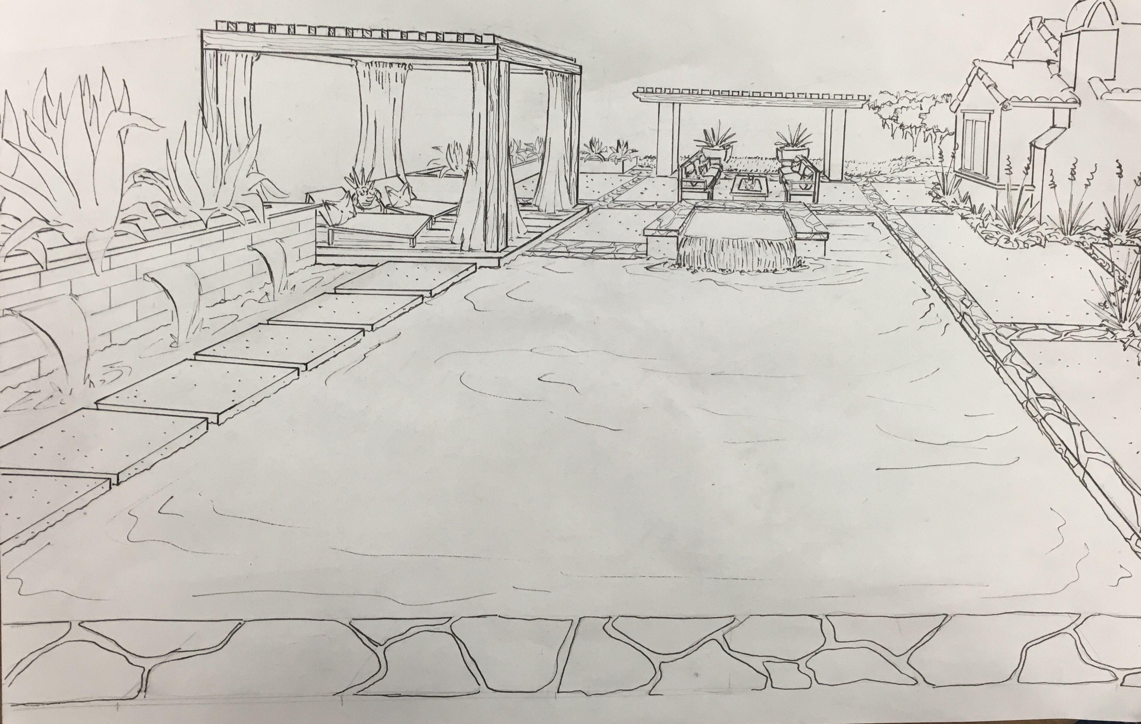 Cleare Fields Backyard Perspective Drawing by Landscape Logic ...