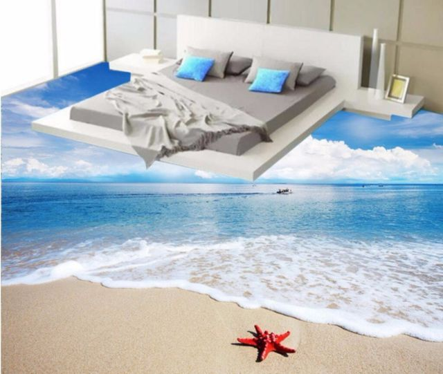 Sea beach starfish waves Custom 3D Floor Wallpaper