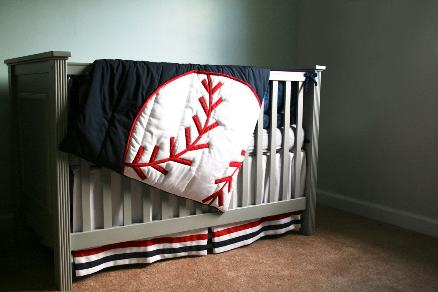 Baseball Four Piece Crib Bedding By Kenkierdesigns On Etsy Quilts Pinterest Baby Boy Nursery And Babies