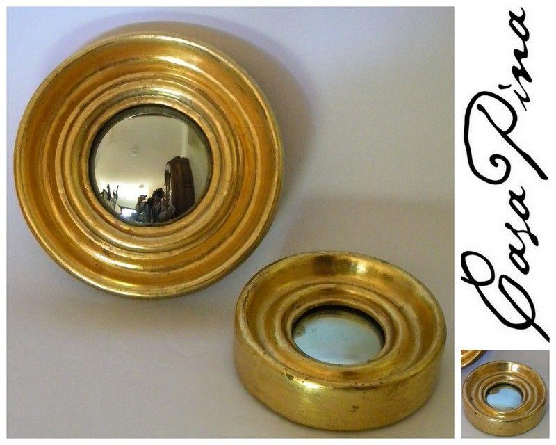 Par de espejos c ncavos siglo 20 enmarcados en madera for Espejo concavo precio