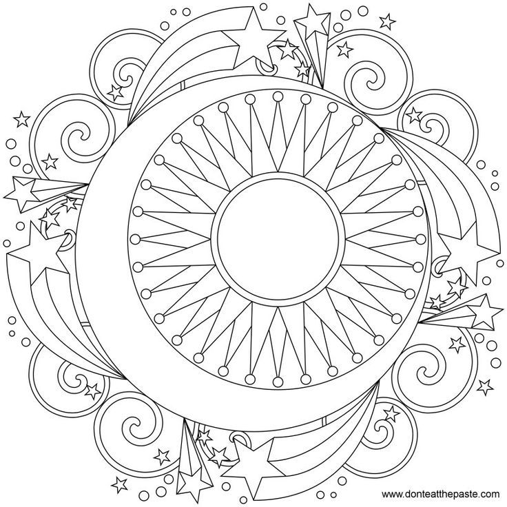 6 best images of printable sun and moon designs mandalas coloring pages of cool designs - Free Printable Star Coloring Pages
