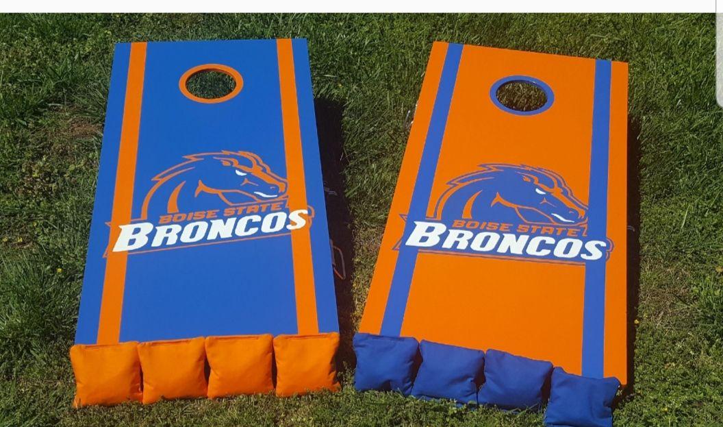 Custom Painted Denver Broncos Cornhole Set Yard art