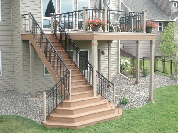 I like the way the stairs fit with the deck not sure if I like the large landing  Deck Ideas