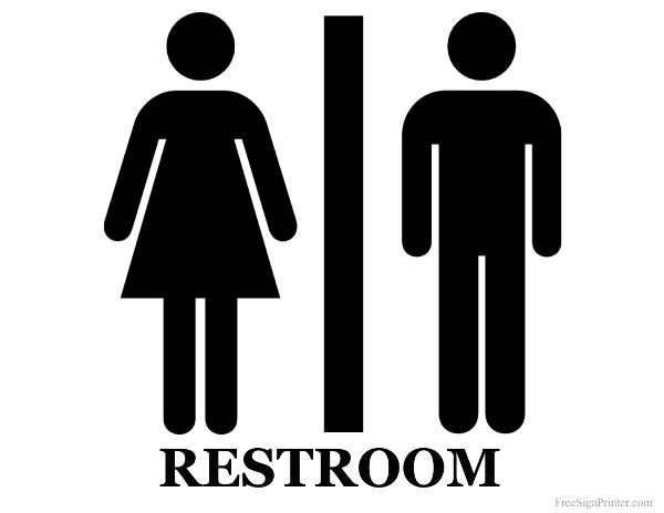 Printable Unisex Restroom Sign For Bathroom At My Home.