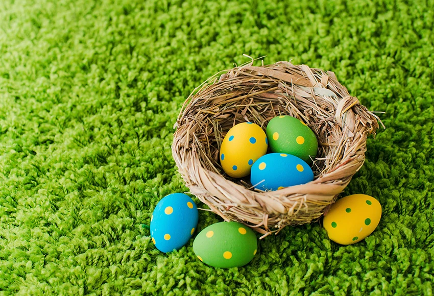Easter Eggs Green Grass Photo Studio Backdrop Sh567 Easter Backdrops Studio Backdrops Muslin Backdrops