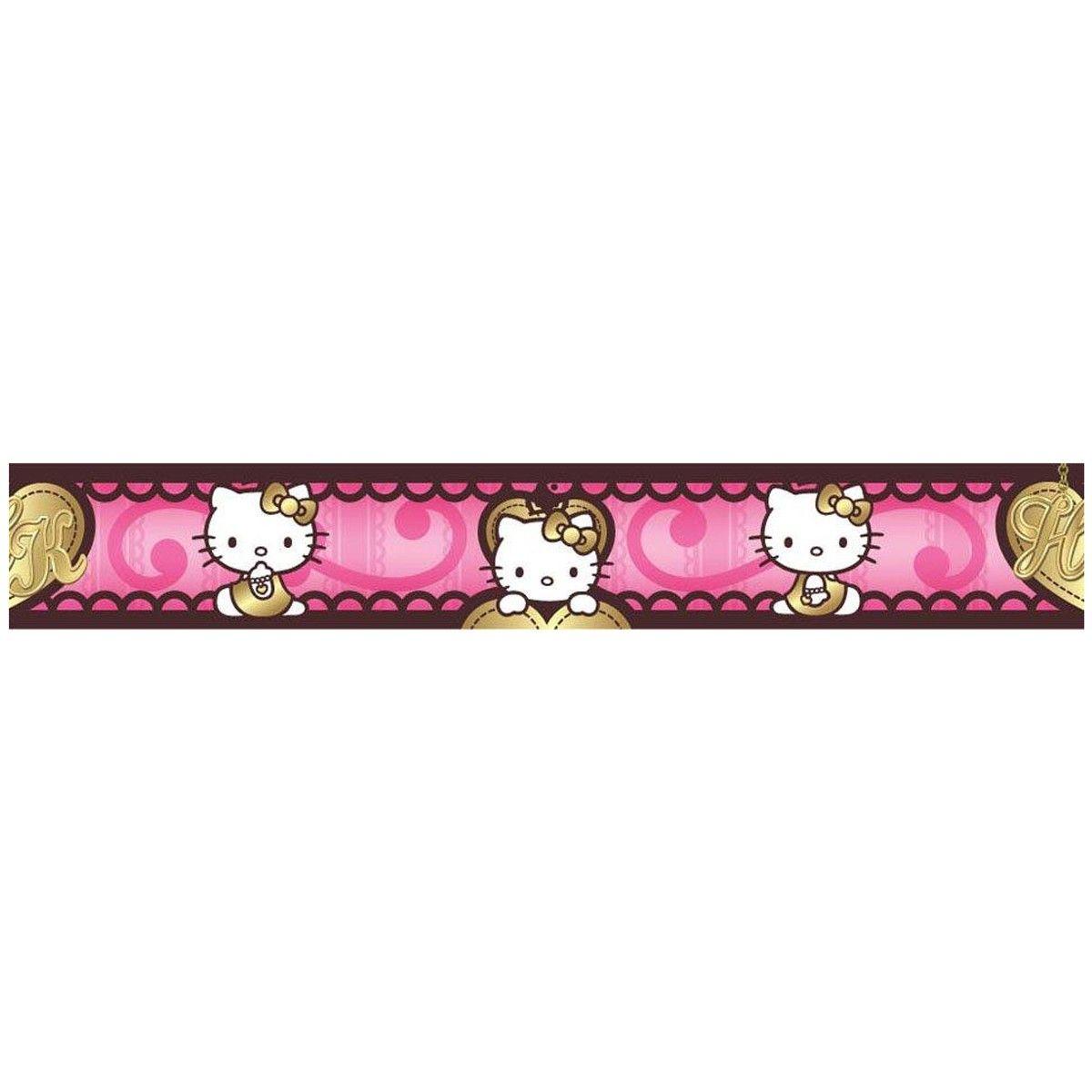 Hello Kitty Gold Heart Self Adhesive Wallpaper Border 5m