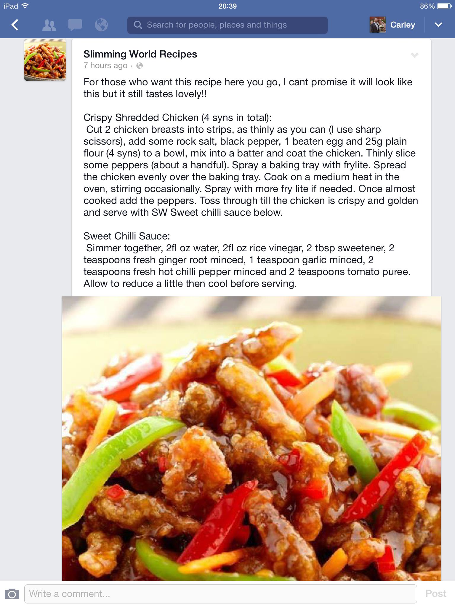 Slimming World Crispy Shredded Chicken 4 Syns World Recipes Slimming World Recipes Crispy Shredded Chicken