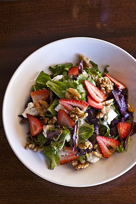 Strawberries, walnuts, feta cheese green salad  COURTNEY APPLE PHOTOGRAPHY