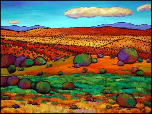southwest colors expressionistic southwest landscape painting on canvas high desert - Santa Fe Colors