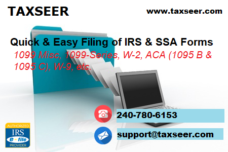 Taxseer Com Provides Online Processing Of 1099s W 2s And Aca