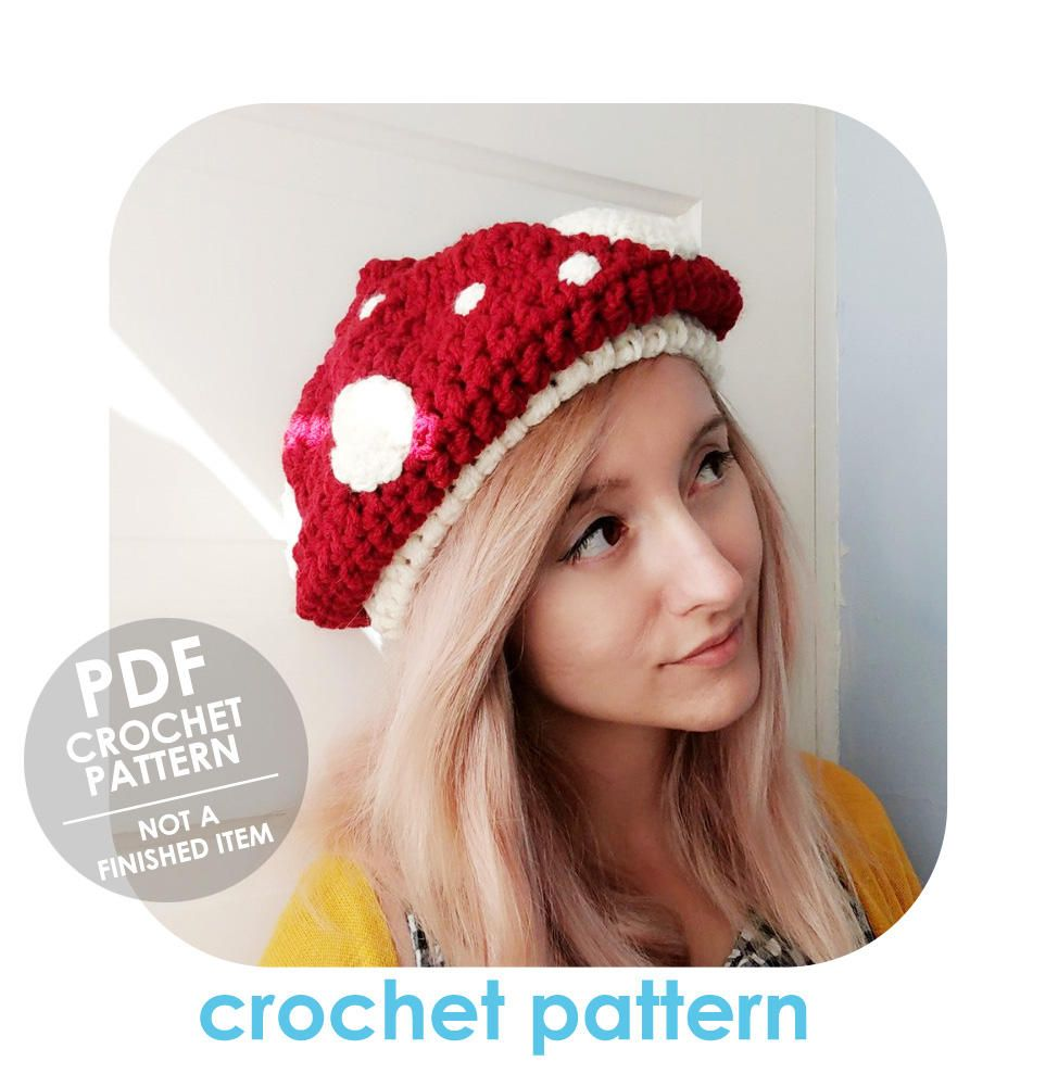 Crochet pattern chunky mushroom hat toadstool hat slouchy crochet pattern chunky mushroom hat toadstool hat slouchy mushroom beret super bulky bankloansurffo Image collections