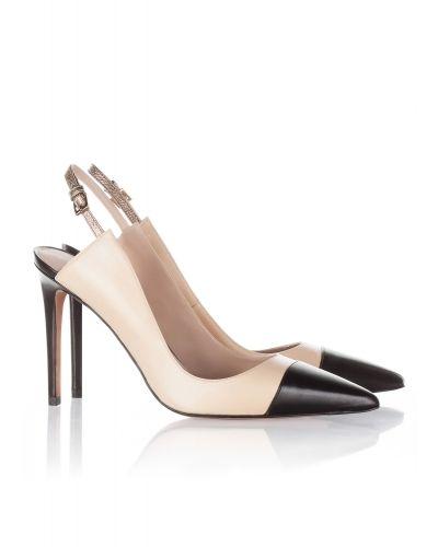Zapatos destalonados con tacón alto en piel natural y negro  201d73fab272