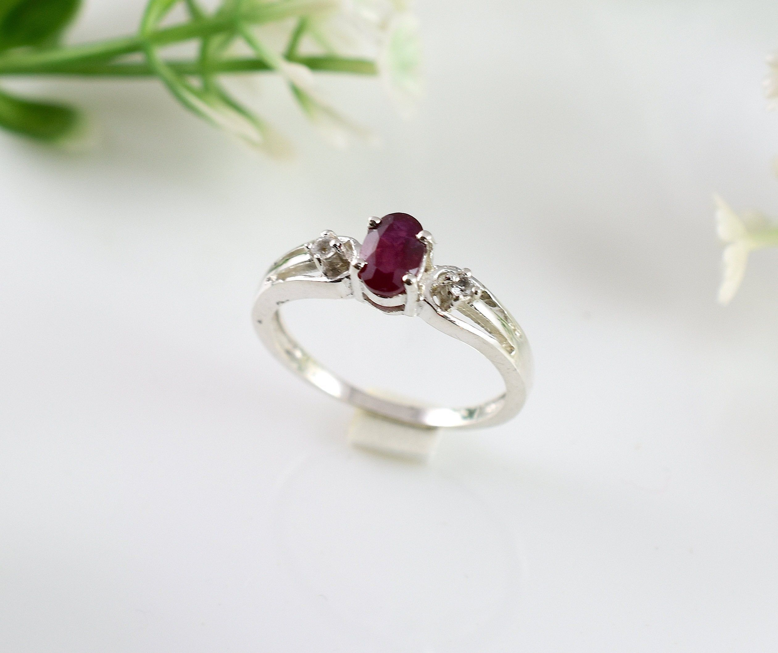 Channel Setting Ruby Blue Sapphire Ring Band 925 Sterling Silver Statement Ring Promise Ring Anniversary Gift Gift For Her