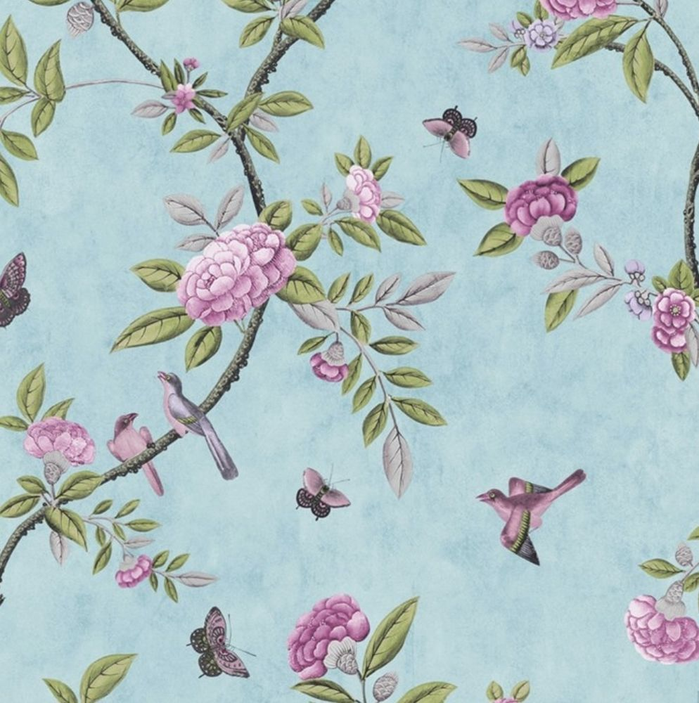 Duck Egg Blue & Purple Vintage Bird Print & Peony