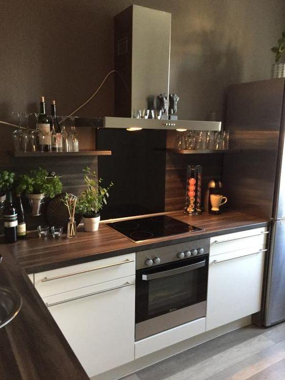 küchen-einrichtungsidee: elegante moderne küche mit dunkler, Hause ideen