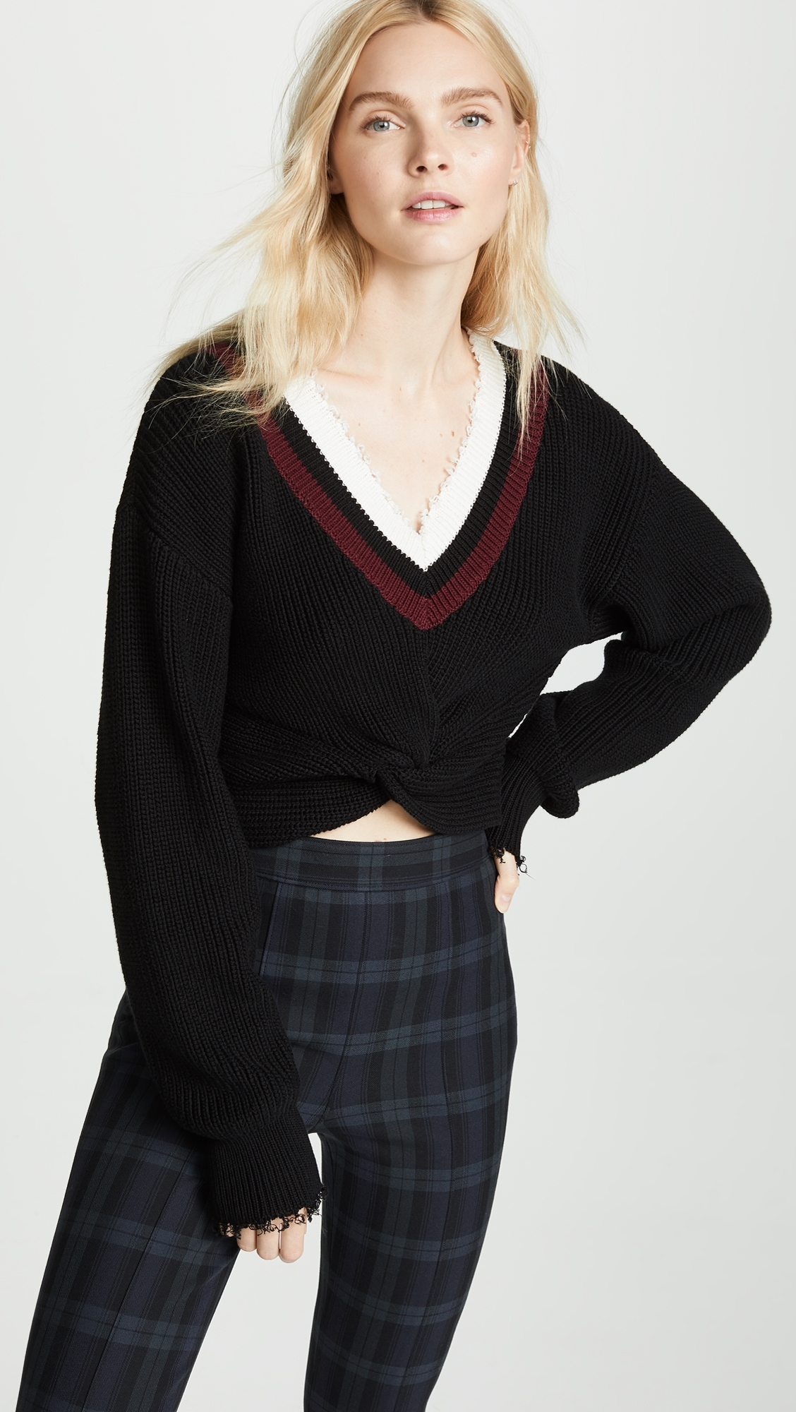 93be93424f904 T by Alexander Wang Hybrid Meets Varsity Twist Front Sweater