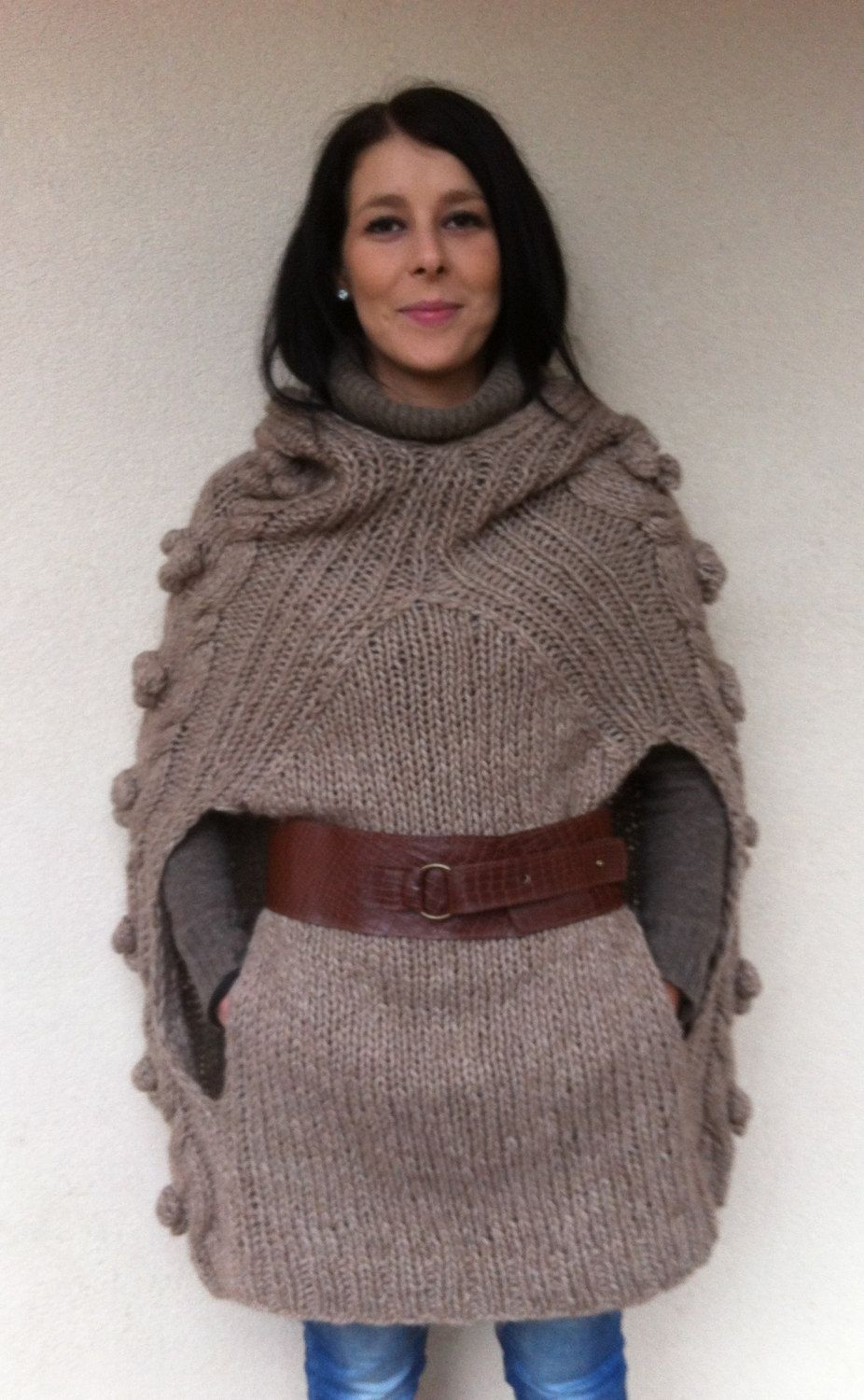 Classic and funny poncho knitting pattern/ supply/ woman/ sweater ...
