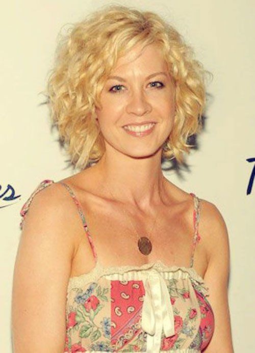 16 Short Hairstyles for Thick Curly Hair: #9. Jenna Elfman Blonde Thick Curly Short Hairstyle