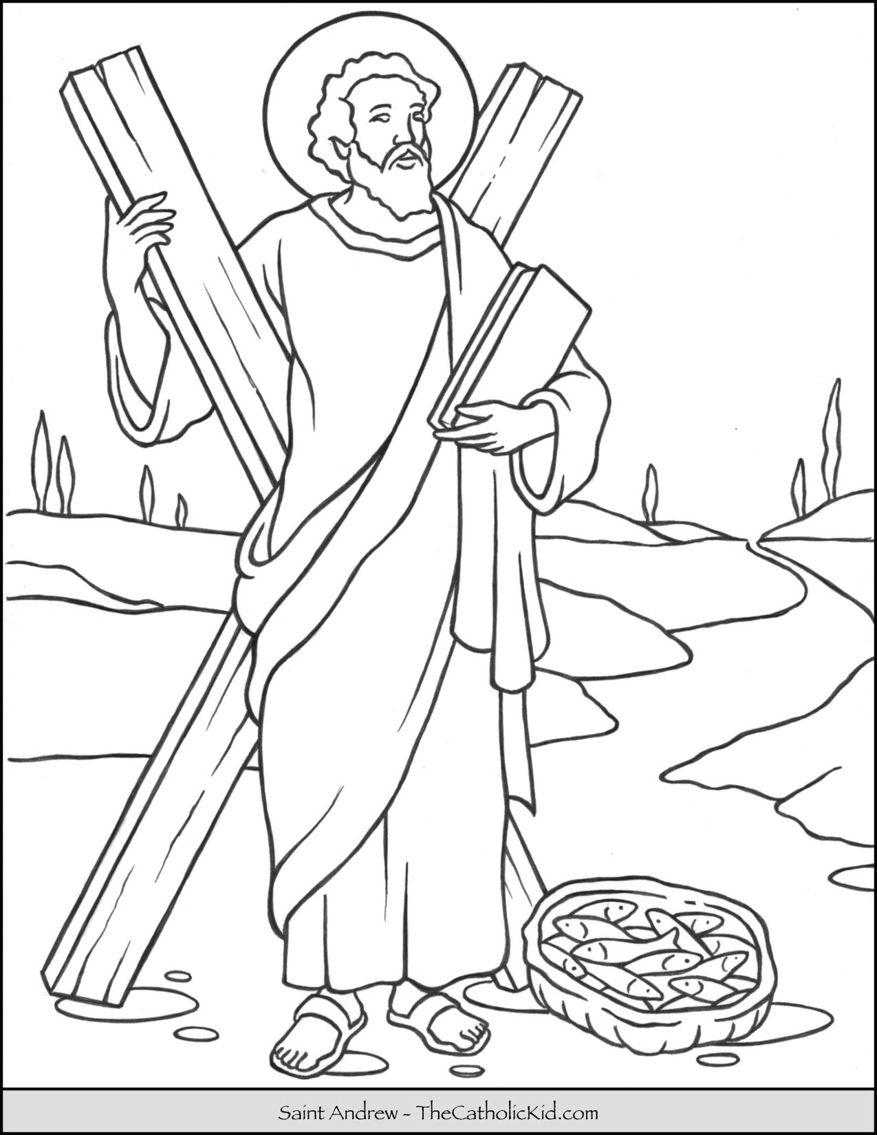 Saint Andrew Coloring Page Born: 29 BC, Galilee, Israel Died