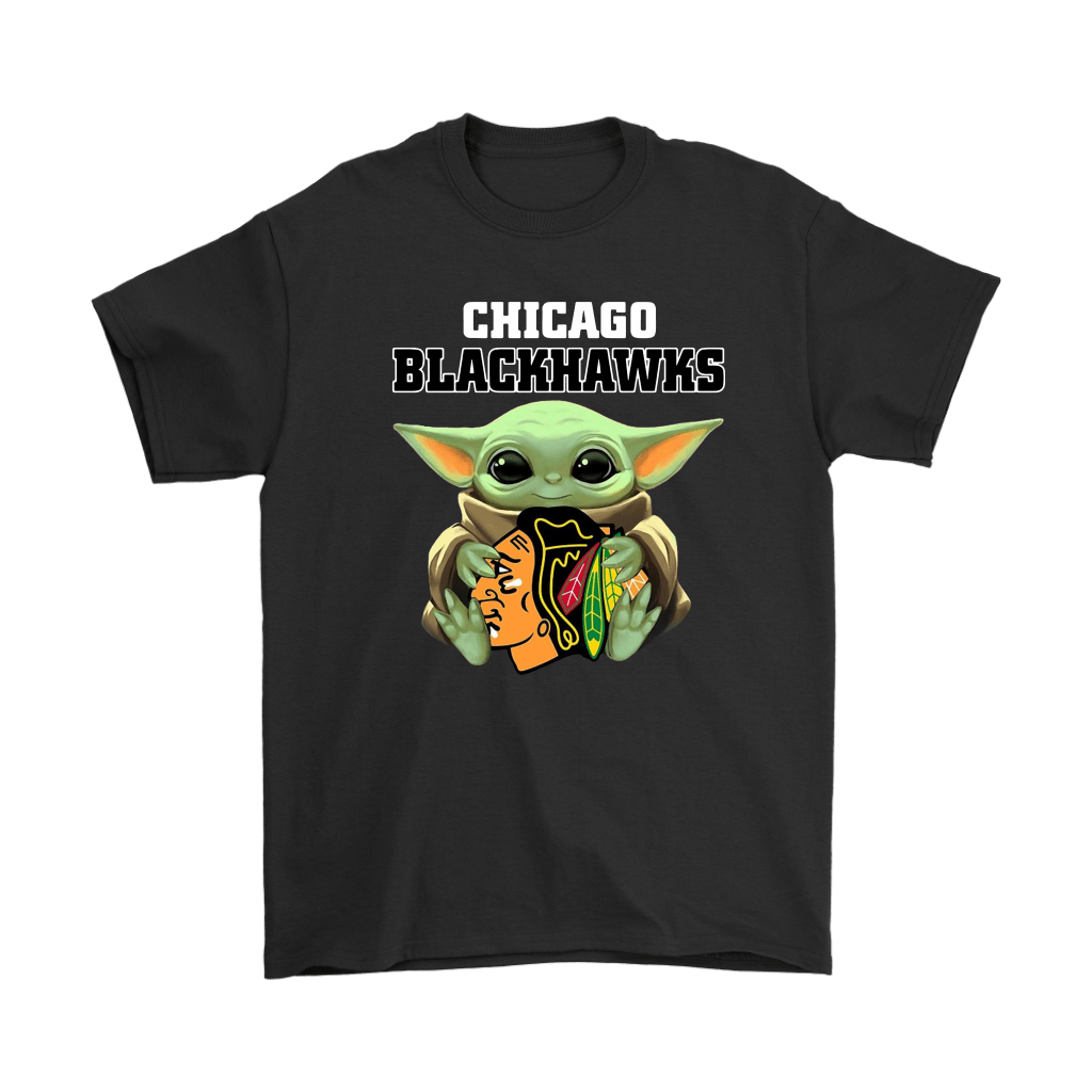 Baby Yoda Hugs The Chicago Blackhawks Ice Hockey Shirts - NFL T-Shirts Store   Star Wars Theme –
