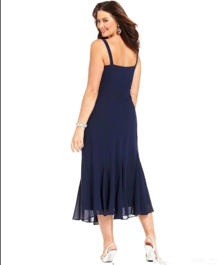 89b2b54e22a64 Dark Navy Chiffon Mother of the Bride Dresses Tea Length Plus Size Long  Sleeves#Mother