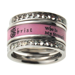 """The purity ring I am getting for my baptism present!  Top ring says """"Trust In The Lord With All Your Heart"""" in the back. Middle ring reads """"I Can Do All Things Through Christ Who Is My Strength"""". Bottom ring reads """"Woman Of God"""" in the back. I LOVE it!"""